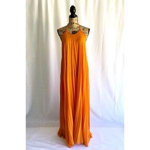 Pleated Halter Maxi Dress
